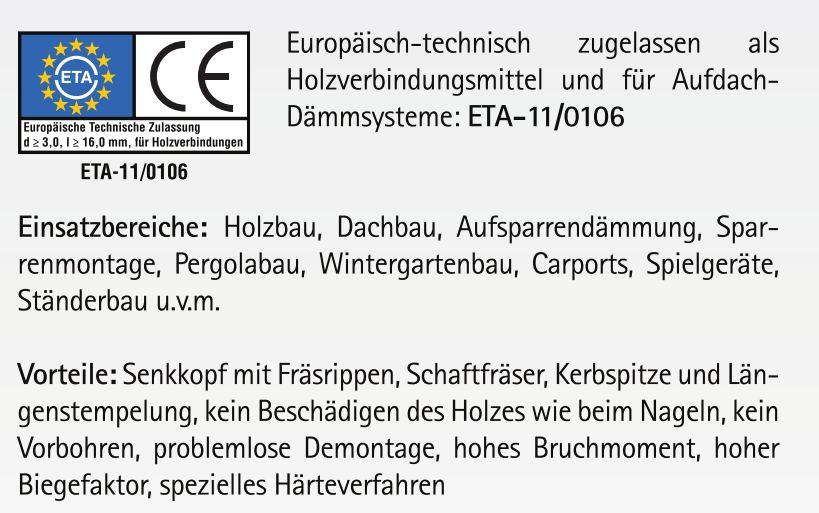 Spanplattenschrauben 6 x 160 mm Länge mit ETA Zulassung