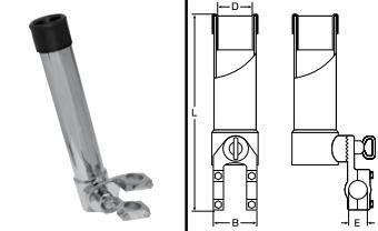 Angelrutenhalter Edelstahl A4 für Reling 40 x 360