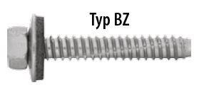 Fassadenschrauben BZ für Stahl 6,3 x 19 verzinkt 16 mm Dichtscheibe 100 Stück