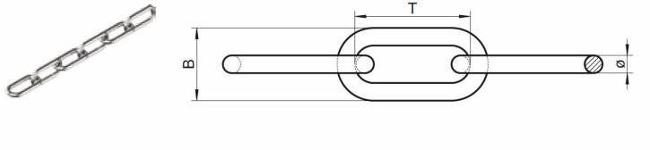 Edelstahlketten langgliedrig DIN 763 5 mm / 1 Meter