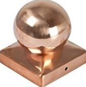 Pfostenkappen Kupfer mit Kugel 71 x 71 Sonderpreis