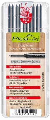 Pica Dry Ersatzminen speziell für Schreiner graphit sehr hart H und feine 10 Stück
