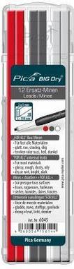 """Pica Big Dry Ersatzminen """"for All"""" für alle Materialien auch nass und ölig Rot/Graphit/Weiß 2B  12 Stück"""