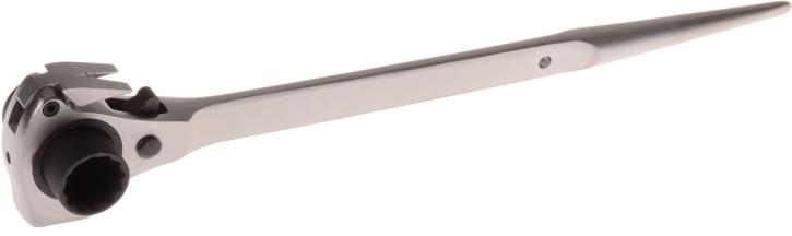 Projahn 2319221 Gerüstbauerschlüssel 4-in-1 Mit Ratschenfunktion metrisch Kanarre mit Nageleisen und Hammer Umschaltknarre