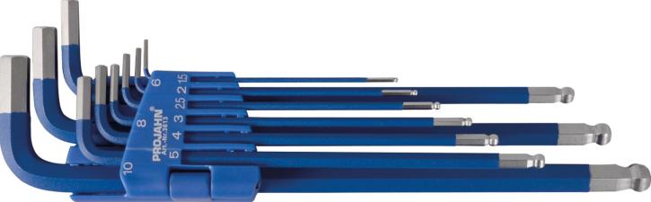 Projahn Winkelstiftschlüsselsatz 6kant mit Kugelkopf extra lange Form 1,5 - 10 mm Blue Edition 3613