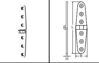 Scharnier Edelstahl A4 Feinnguss 103 x 27 x 4,5 mm 1 Stück