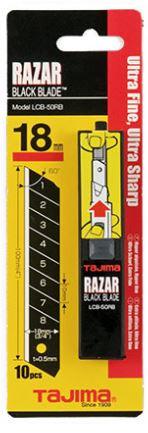 Tajima Razar Black Blade Profi Abbrechklinge schwarz ultra scharf 10 Stück in Box 18 mm