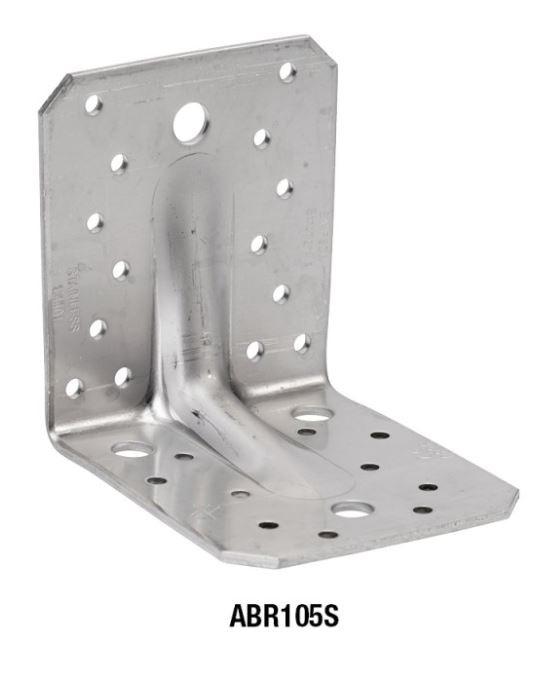 Winkelverbinder 105 x 105 x 85 Edelstahl mit Steg Stück
