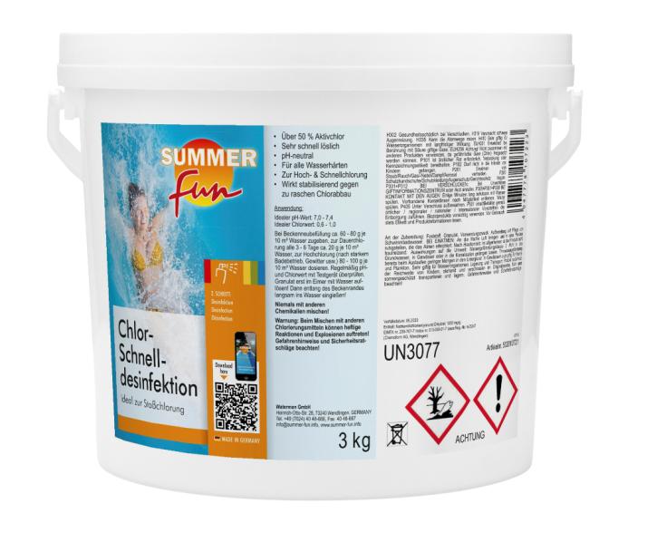 Chlor-Schnelldesinfektion 3 kg Eimer Chlorgranulat