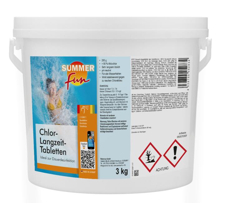 Chlor- Langzeit Tabletten 3 kg im Eimer Chlortabs