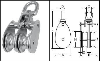 Doppelblock Edelstahl A2 mit Edelstahlrollen 25 mm Rolle Länge 88 mm