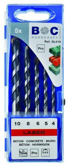 Laser Betonbohrersatz 5 teilig in Kunststoff- Kassette