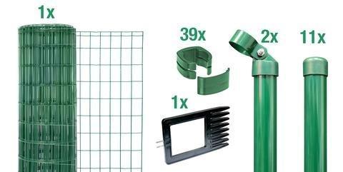 schwei gitterzaun wildzaun set gr n 1020 mm 15 m einschlagh lsen. Black Bedroom Furniture Sets. Home Design Ideas