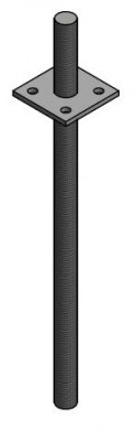 verstellbarer Pfostenträger in Beton 24 x 500 Platte 80 x 80