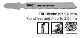 Stichsägeblätter Metall für Stahl + Blech Länge 55 mm 5 Stück
